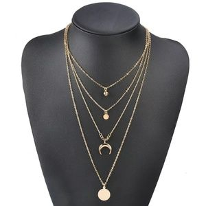 Jewelry - Boho crescent moon, horn , coin necklace gold tone